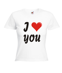 Motiv T-Shirt Damen I LOVE YOU